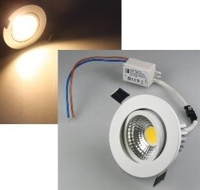 LED Einbauleuchte 5W, 350lm ALU, 3000K, 90°,Rahmen weiß - LED100 ...