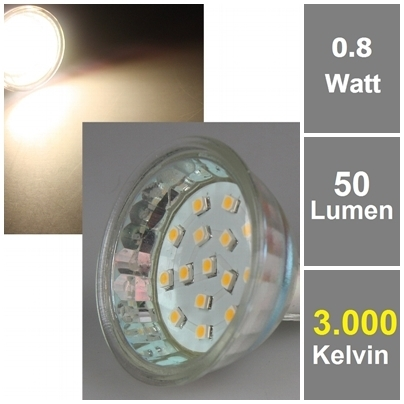 15 SMD LEDs 3000k, 50lm, 120°, 12V/0,8W, warmweiß MR16