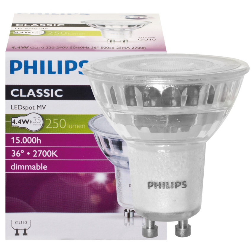philips gu10 led strahler 4 4w 250lm dimmbar warmweiss led100 einbaustrahler und mehr. Black Bedroom Furniture Sets. Home Design Ideas