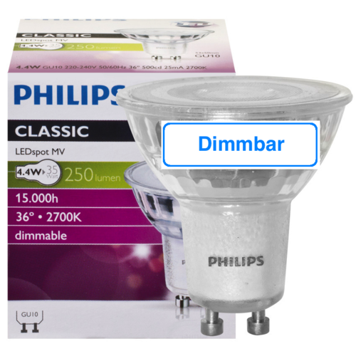 Philips GU10 LED Strahler 4.4W 250Lm dimmbar warmweiss