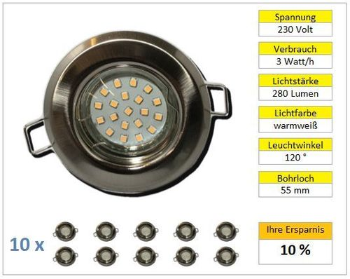 10er Set LED Einbaustrahler starr chrom-matt 3w warmweiß