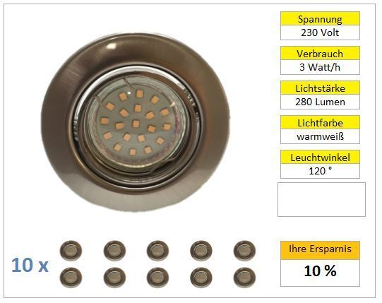 10er Set LED Einbaustrahler Chrom matt 3W warmweiß