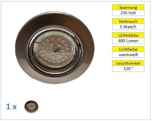 1er Set LED Einbaustrahler 5W Chrom matt warmweiß