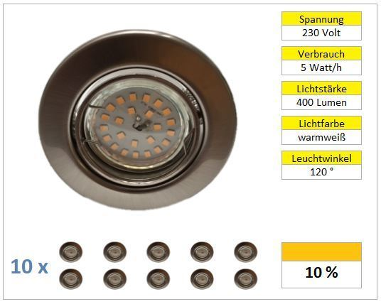 10er Set LED Einbaustrahler 5W Chrom matt warmweiß