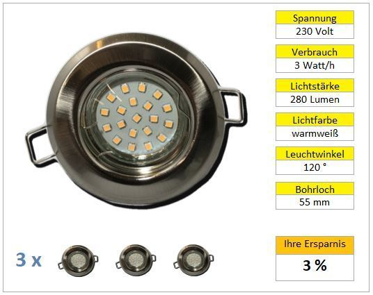 3er Set LED Einbaustrahler starr chrom-matt 3w warmweiß